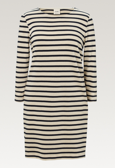 Breton dress with 3/4 sleeve - Tofu/Midnight blue - M (7) - Maternity dress / Nursing dress