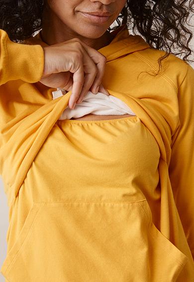 B Warmer hoodiesunflower (3) - Maternity top / Nursing top
