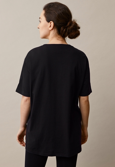 Oversized The-shirt - Black - M/L (2) - Maternity top / Nursing top
