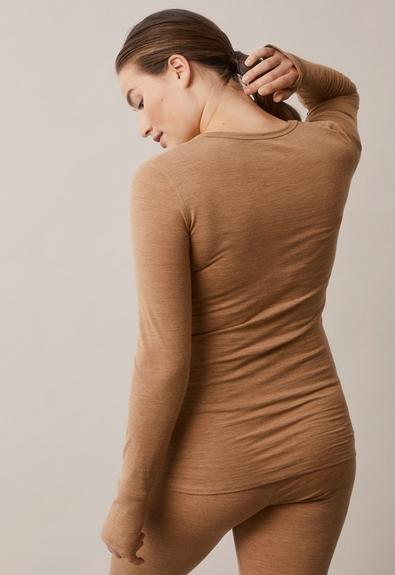 Merino wool l/s topbrown melange (4) - Umstandsshirt / Stillshirt