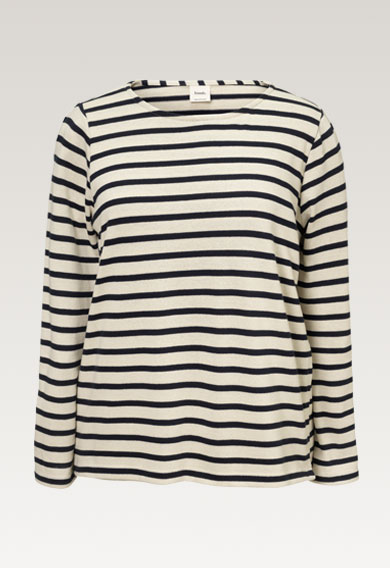 Breton long-sleeved top - Tofu/Midnight blue - L (6) - Maternity top / Nursing top