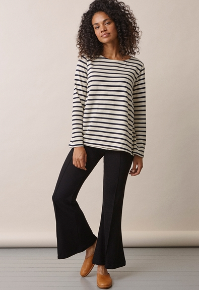 Breton long-sleeved top - Tofu/Midnight blue - L (2) - Maternity top / Nursing top