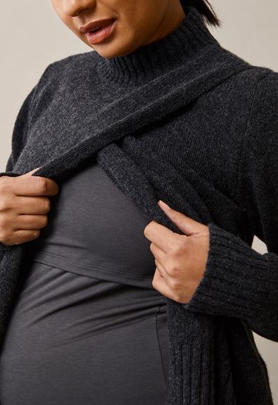 Sesame wool sweater - Almost black - L/XL (3) - Maternity top / Nursing top