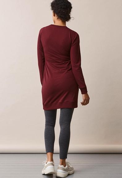 B Warmer dress - Burgundy - L (2) - Maternity dress / Nursing dress
