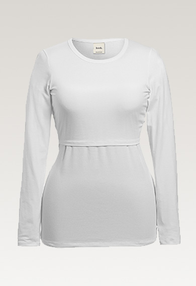 Classic long-sleeved top - White - L (5) - Maternity top / Nursing top