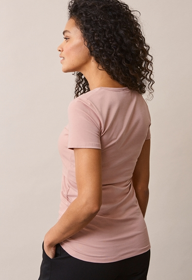 Classic short-sleeved top - Mauve - XS (3) - Maternity top / Nursing top