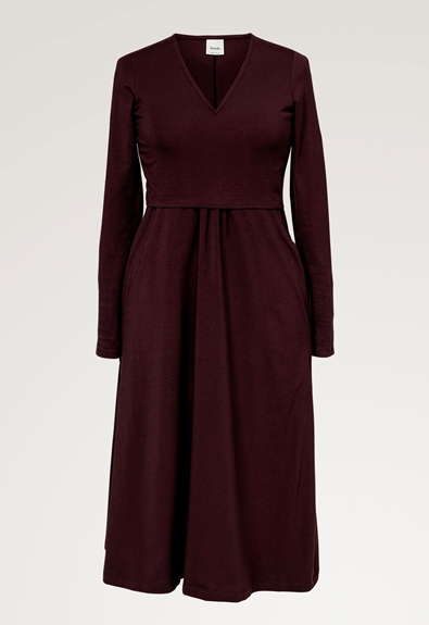 Charlotte dress - Eggplant - XL (5) - Maternity dress / Nursing dress