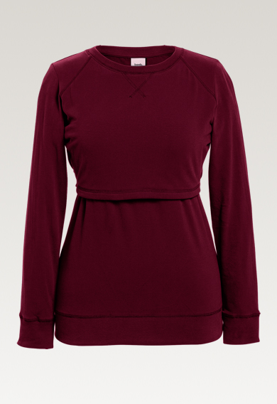 B Warmer sweatshirtburgundy (5) - Maternity top / Nursing top