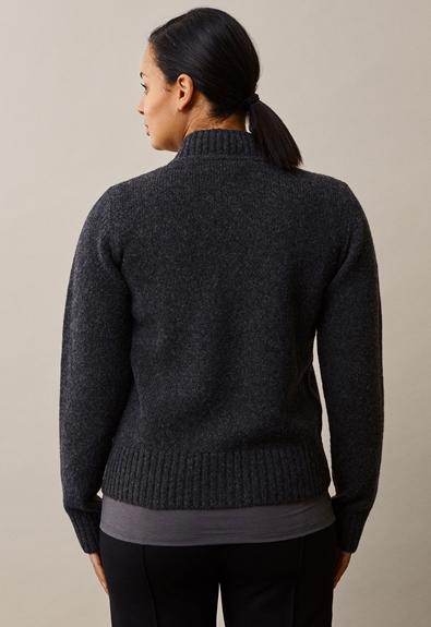 Sesame wool sweater - Almost black - L/XL (2) - Maternity top / Nursing top