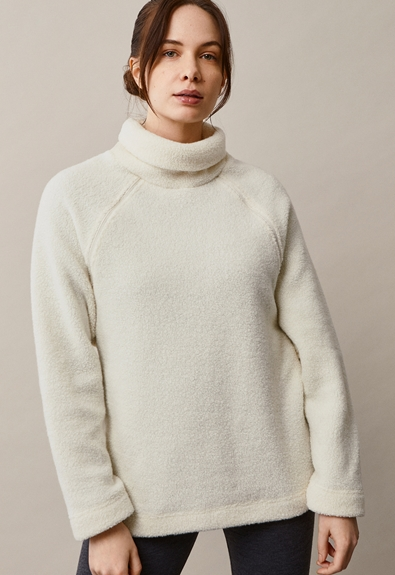 Fleecepullover aus Wolle - Tofu - L/XL (1) - Umstandsshirt / Stillshirt