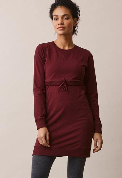 B Warmer dress - Burgundy - L (3) - Maternity dress / Nursing dress