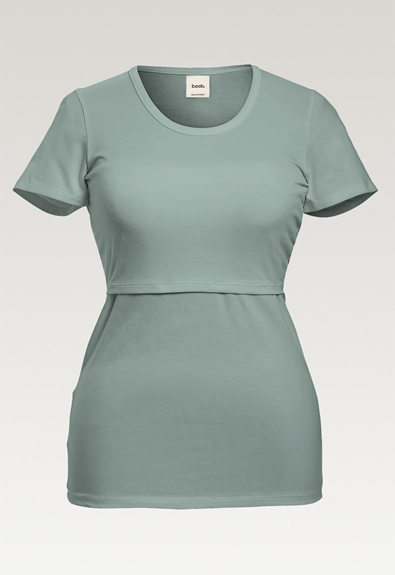 Classic short-sleeved top - Mint - L (6) - Maternity top / Nursing top