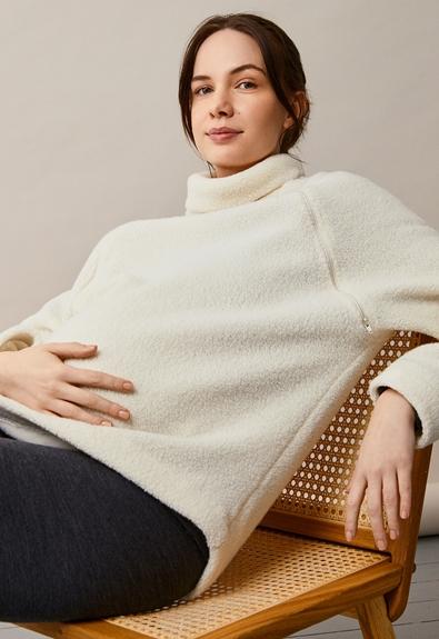 Fleecepullover aus Wolle - Tofu - L/XL (2) - Umstandsshirt / Stillshirt