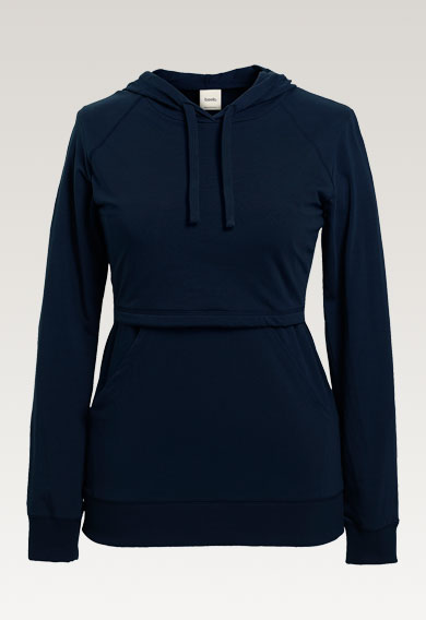 B Warmer hoodiemidnight blue (2) - Maternity top / Nursing top