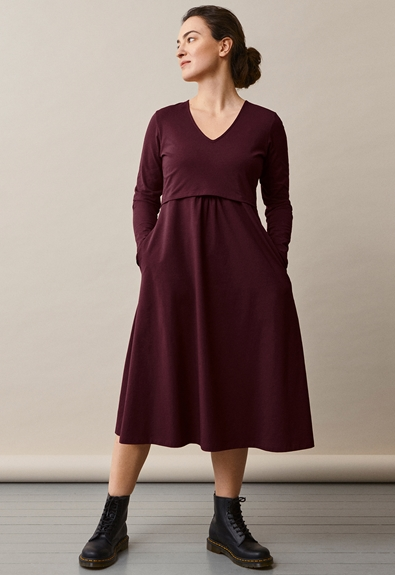 Charlotte dress - Eggplant - XL (4) - Maternity dress / Nursing dress
