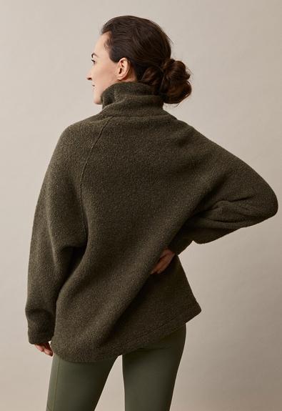 Fleecepullover aus Wolle - Pine green - S/M (2) - Umstandsshirt / Stillshirt