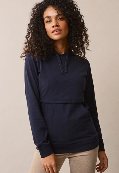 B Warmer hoodie - Midnight blue - S (1) - Maternity top / Nursing top
