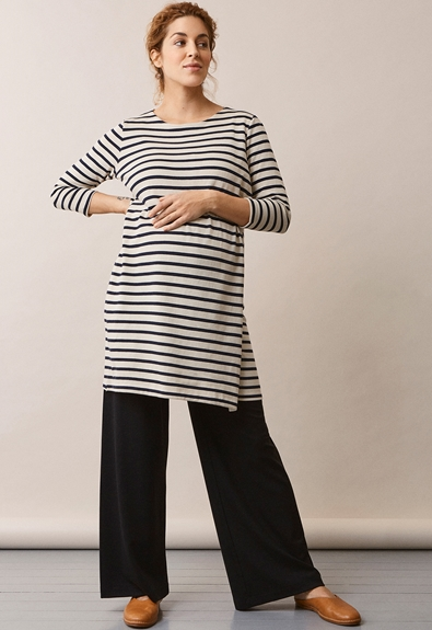 Breton dress with 3/4 sleeve - Tofu/Midnight blue - M (1) - Maternity dress / Nursing dress