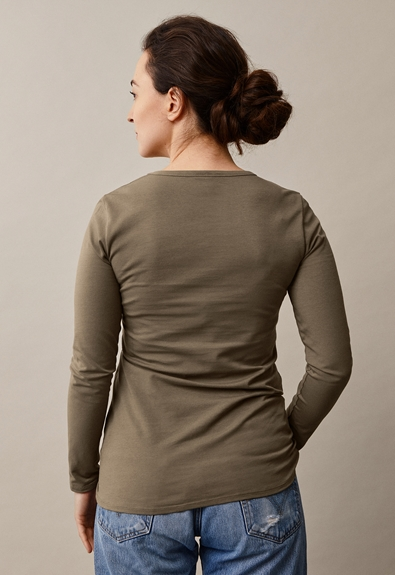 Classic long-sleeved top - Green khaki - L (3) - Maternity top / Nursing top