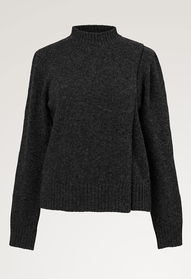 Sesame wool sweater - Almost black - L/XL (4) - Maternity top / Nursing top