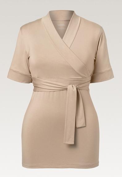 Lounge wrap top - Sand - M (7) - Maternity top / Nursing top