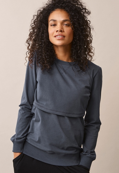 B Warmer sweatshirt - Steel blue - L (2) - Maternity top / Nursing top