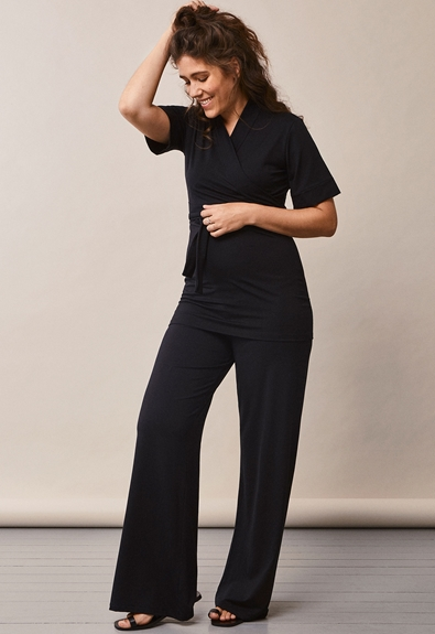 Lounge wrap top - Black - XL (2) - Maternity top / Nursing top