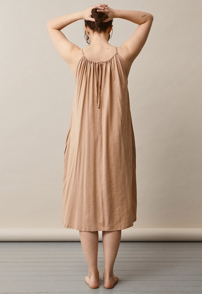 Air halterneck midi dress - Sand - One size (2) - Maternity dress / Nursing dress