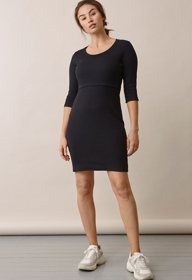 Signe dress with 3/4 sleeves - Black - S (3) - Maternity dress / Nursing dress