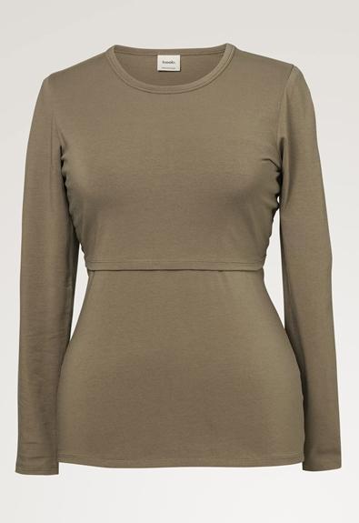 Classic long-sleeved top - Green khaki - L (5) - Maternity top / Nursing top
