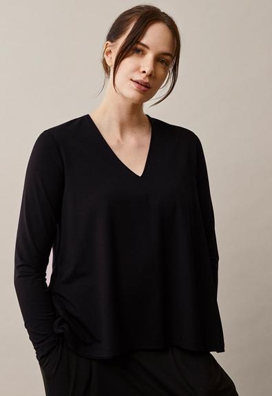 Easy v-neck top - Black - XL (1) - Maternity top / Nursing top