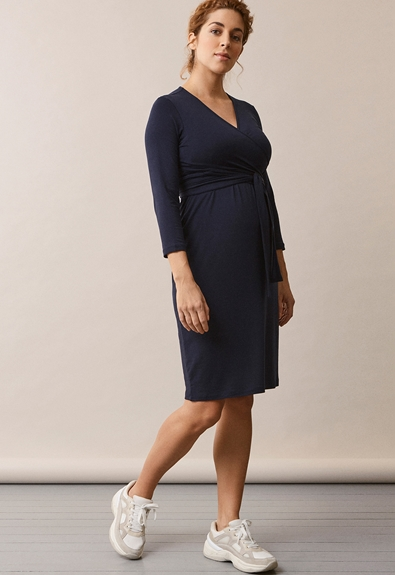 Giselle wrap dress - Midnight blue - M (1) - Maternity dress / Nursing dress