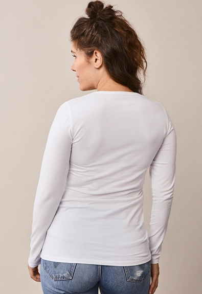 Classic long-sleeved top - White - L (3) - Maternity top / Nursing top