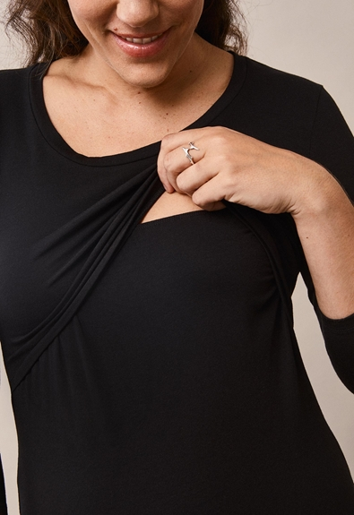 Easy top with ¾ sleeves - Black - M (6) - Maternity top / Nursing top
