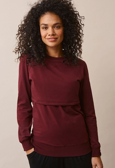 B Warmer sweatshirt - Burgundy - XS (2) - Maternity top / Nursing top