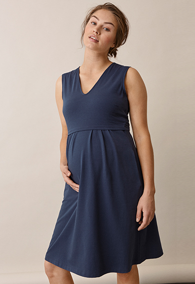 Tilda dressthunder blue (1) - Maternity dress / Nursing dress