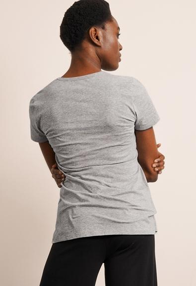 Classic short-sleeved top - Grey melange - XL (3) - Maternity top / Nursing top