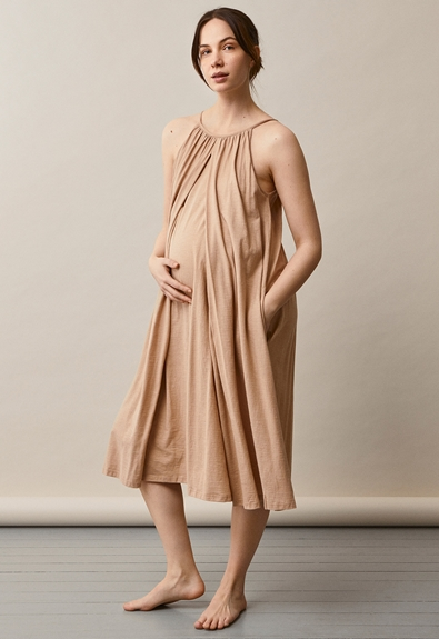 Air halterneck midi dress - Sand - One size (1) - Maternity dress / Nursing dress