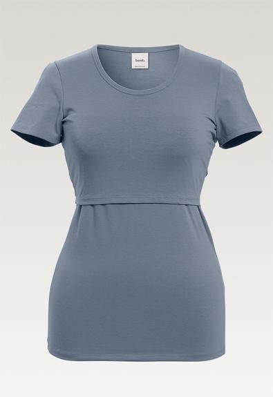 Classic short-sleeved top - Blue ash - XXL (5) - Maternity top / Nursing top