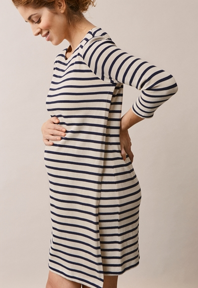 Breton dress with 3/4 sleeve - Tofu/Midnight blue - M (3) - Maternity dress / Nursing dress