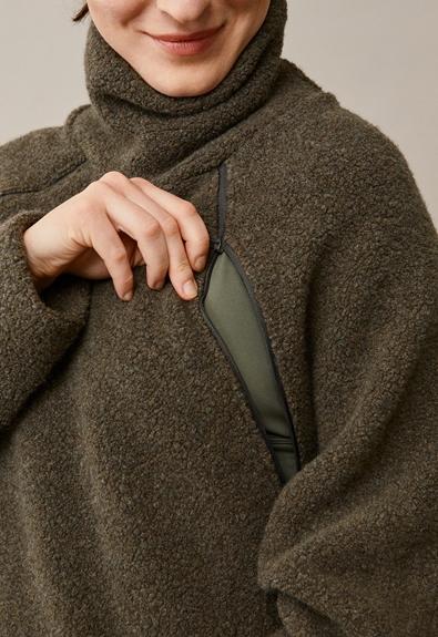 Fleecepullover aus Wolle - Pine green - S/M (4) - Umstandsshirt / Stillshirt