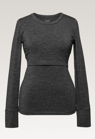 Long-sleeved merino wool top, dk greymelange L (9) - Maternity top / Nursing top