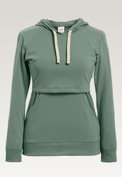 B Warmer hoodiegreen surf (7) - Maternity top / Nursing top