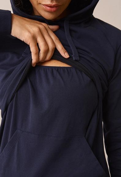 B Warmer hoodie - Midnight blue - XL (4) - Maternity top / Nursing top