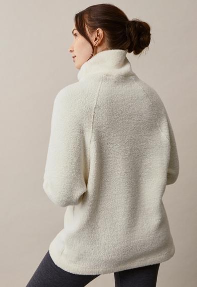 Fleecepullover aus Wolle - Tofu - L/XL (4) - Umstandsshirt / Stillshirt