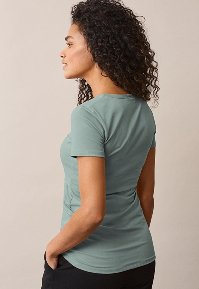 Classic short-sleeved top - Mint - L (3) - Maternity top / Nursing top