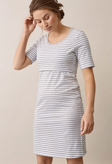 Night dress, white/grey melange XL (1) - Maternity nightwear / Nursing nightwear