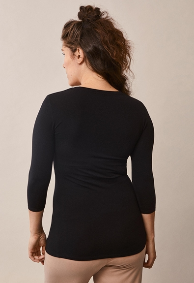 Easy top with ¾ sleeves - Black - M (3) - Maternity top / Nursing top