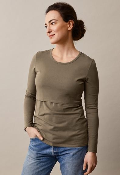 Classic long-sleeved top - Green khaki - L (1) - Maternity top / Nursing top
