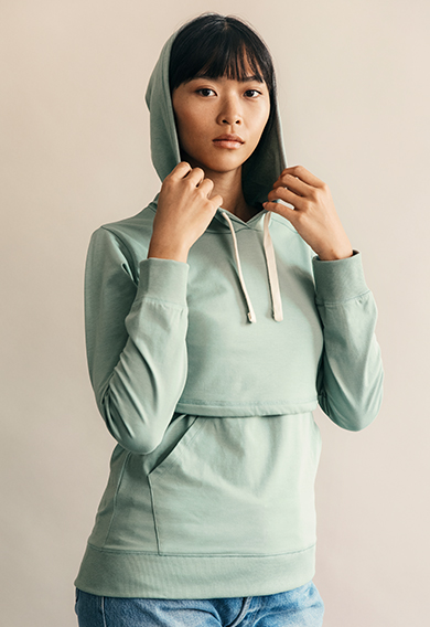 B Warmer hoodiegreen surf (4) - Maternity top / Nursing top